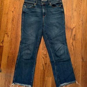 LOFT vintage straight jeans, distressed hem